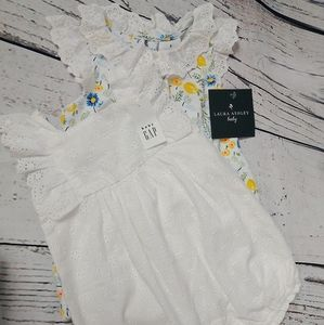 2 piece bundle 3-6 month baby girl rompers